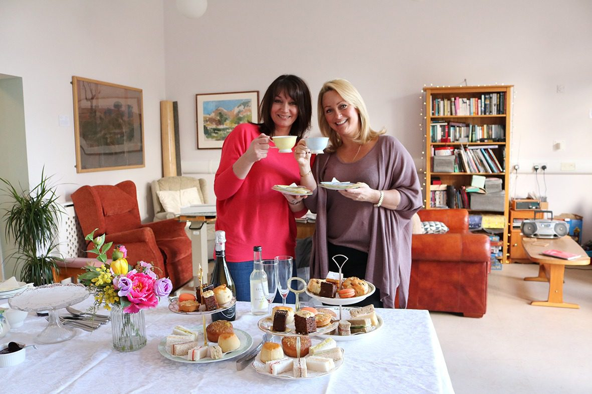 Rachel and Jo with the Gidleigh Park afternoon tea